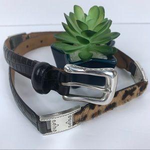 Talbots Brighton Belt Black Leather Leopard Print
